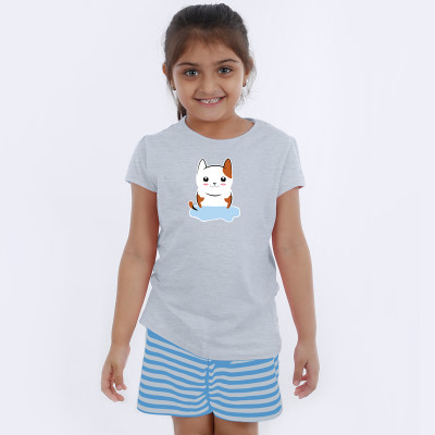 Grey Half Sleeve Girls Pyjama- Kitty